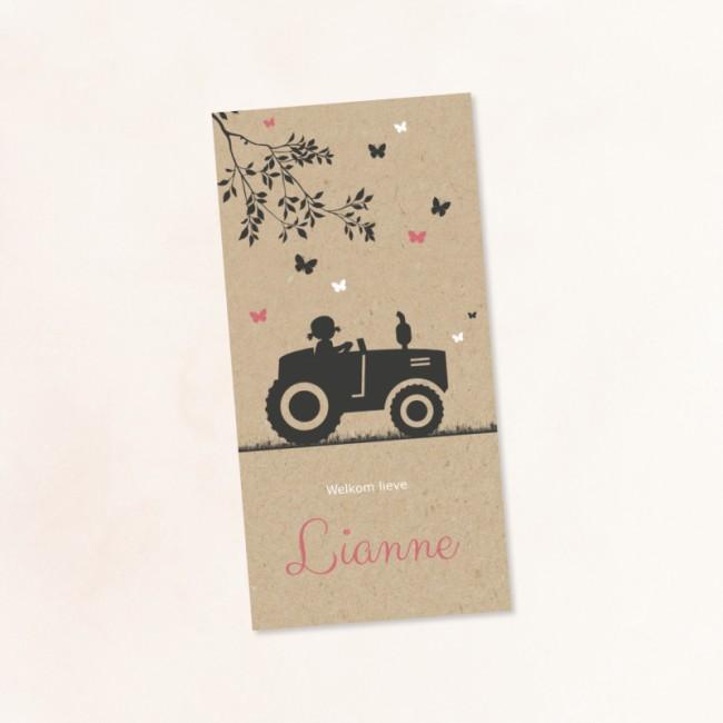 Geboortekaartje Silhouet meisje en tractor