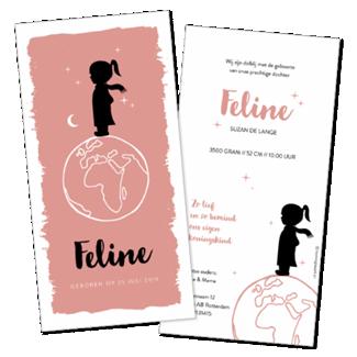 Geboortekaartje Silhouet meisje wereldbol