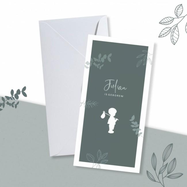 Geboortekaartje Silhouet met knapzak