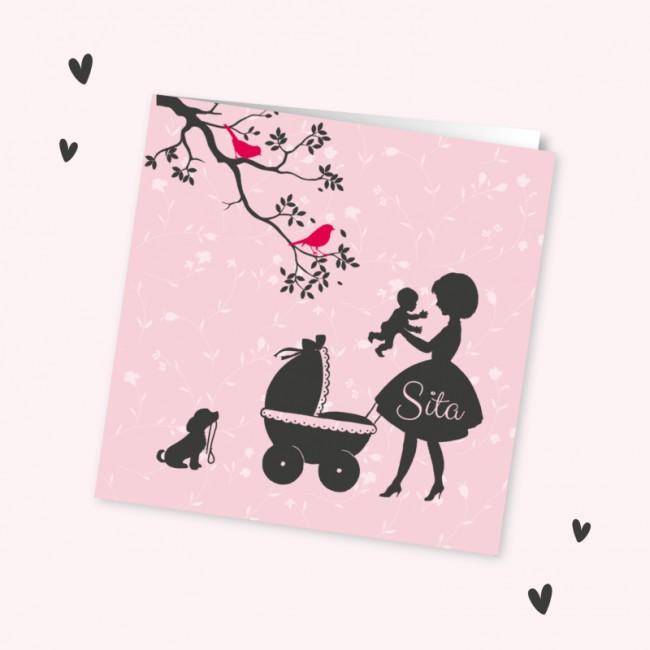 Geboortekaartje Silhouet moeder met meisje