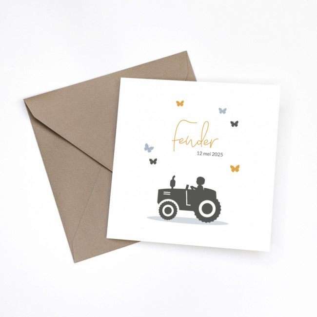 Geboortekaartje Silhouet tractor