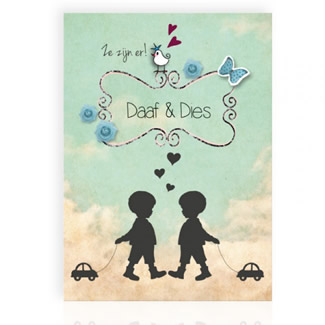 Geboortekaartje Silhouet tweeling