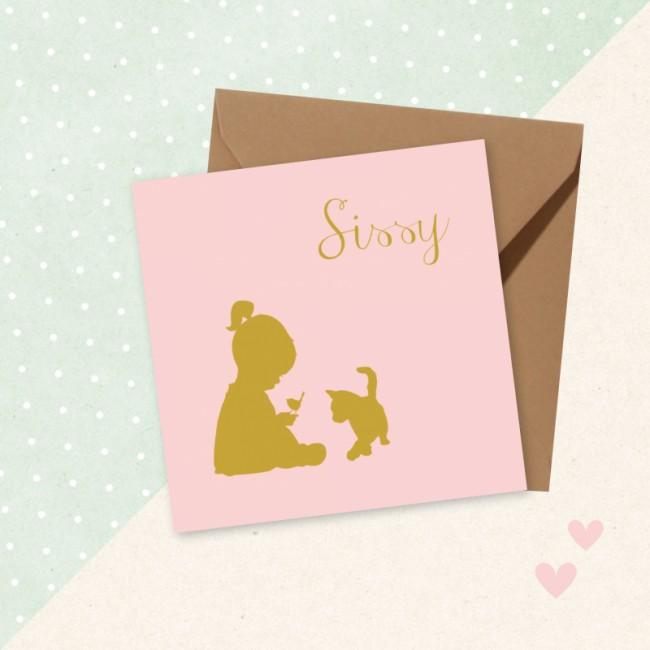 Geboortekaartje Silhouet zittend meisje