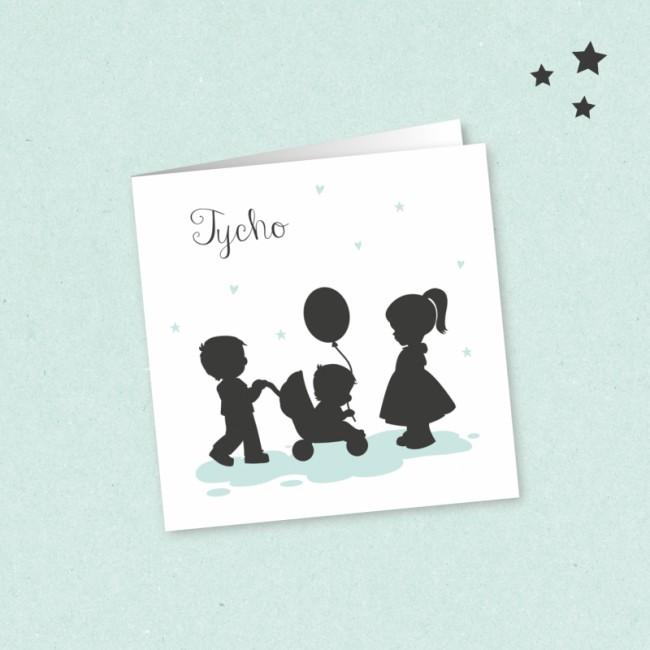 Geboortekaartje Silhouetjes derde kindje