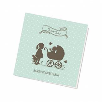 Geboortekaartje Silhouette kinderwagen