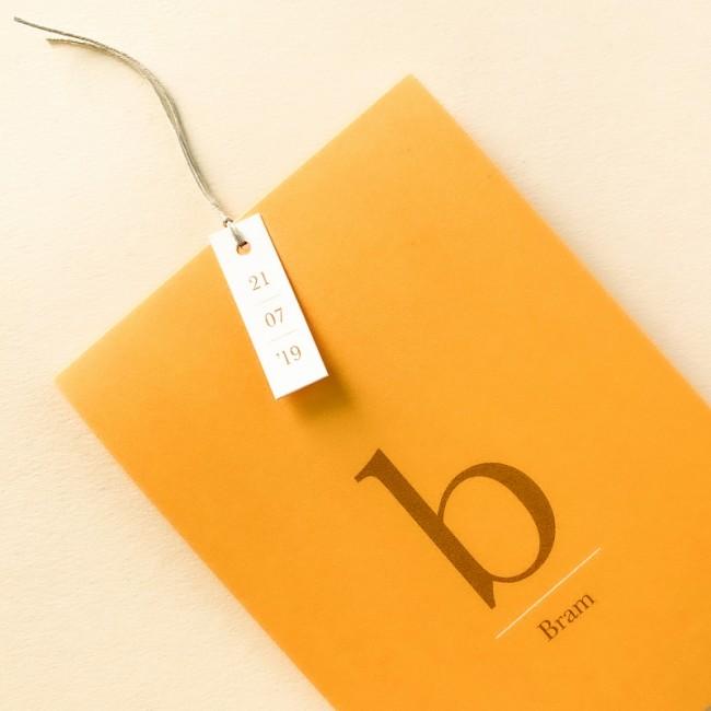 Geboortekaartje staand kaartje - okergeel