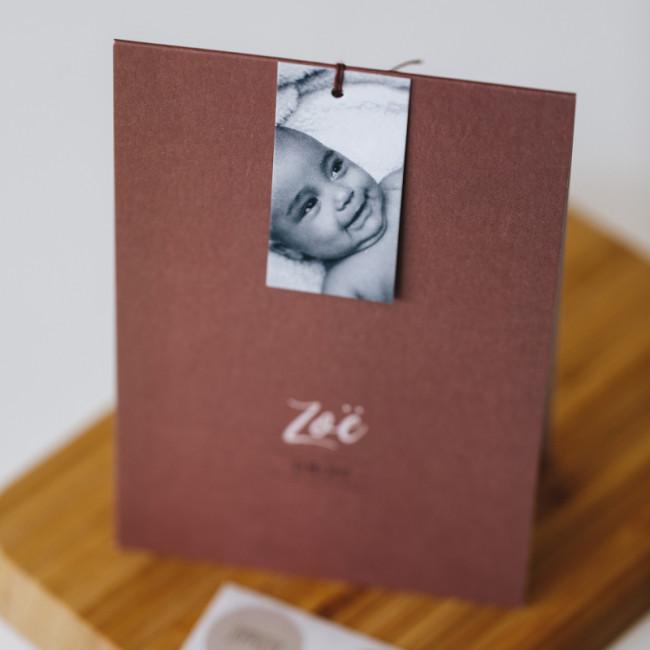 Geboortekaartje Staand met fotolabel