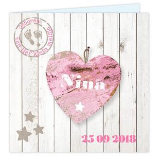 Geboortekaartje Steigerhout geboortekaart