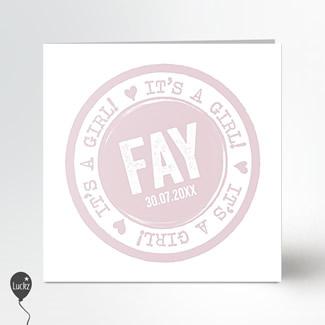 Geboortekaartje Stempel roze meisje