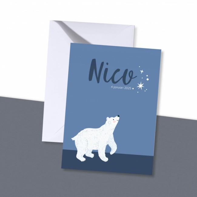 Geboortekaartje Sterren en ijsbeer