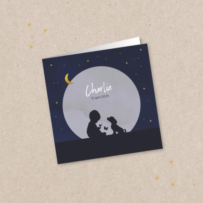 Geboortekaartje Silhouet meisje en sterren
