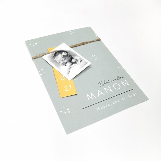 Geboortekaartje Stipjes met fotolabel