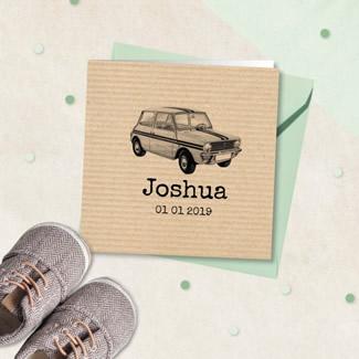 Geboortekaartje Stoer met kraft en auto