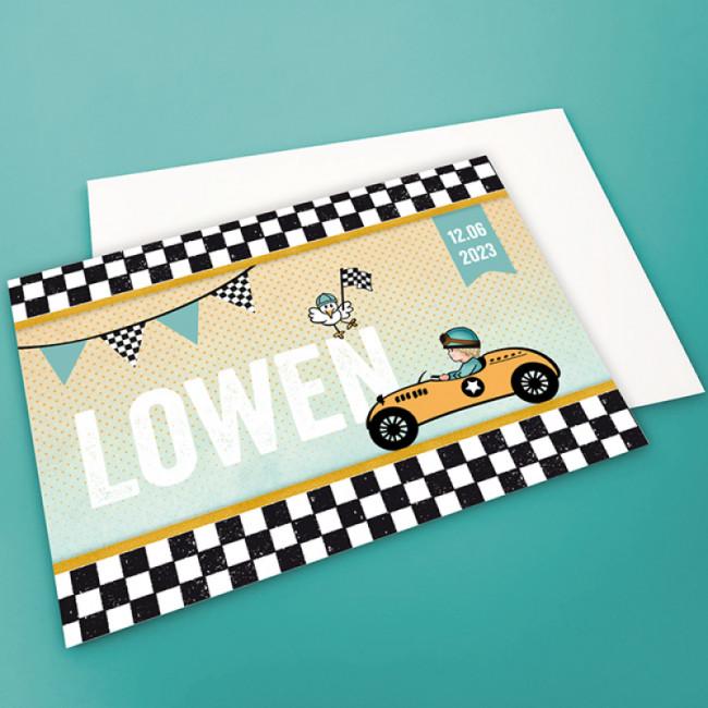 Geboortekaartje Stoer met raceauto