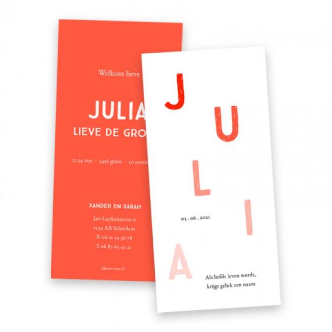 Geboortekaartje Stoer typografisch kaartje