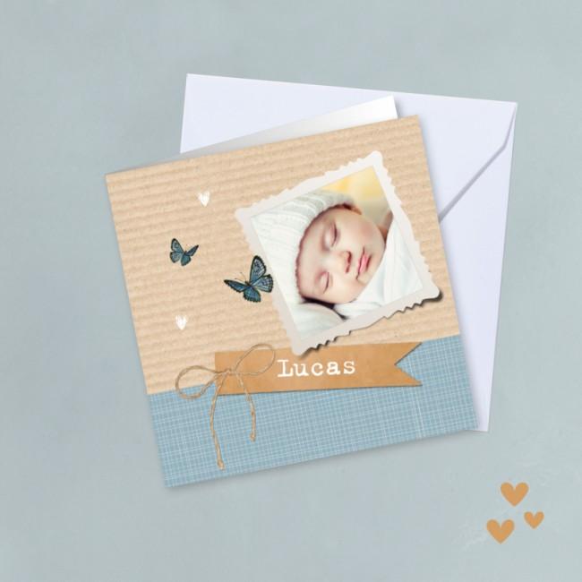 Geboortekaartje Strik met label blauw
