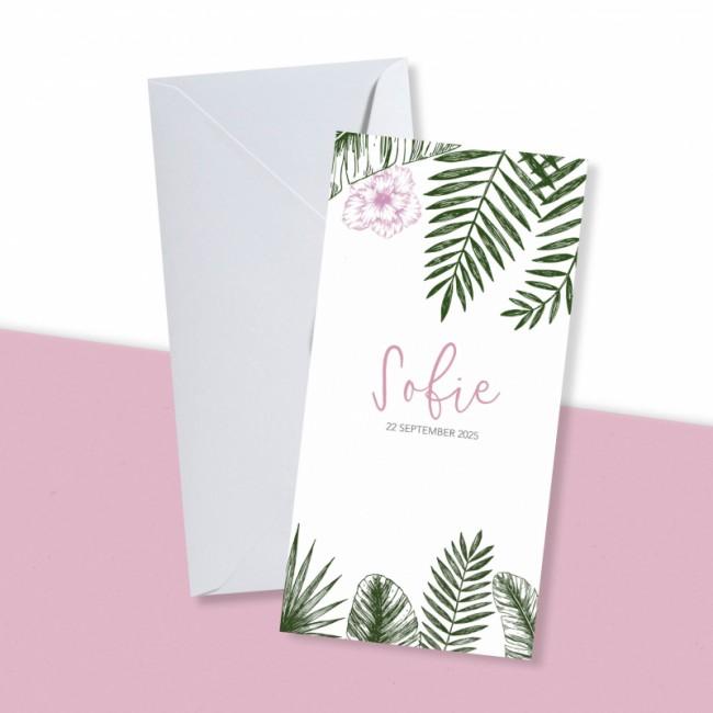 Geboortekaartje Tropisch met roze bloem