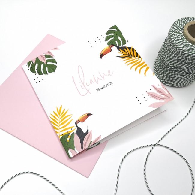 Geboortekaartje Tropisch met toekan