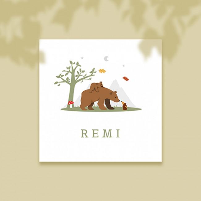 Geboortekaartje Twee beren in herfst
