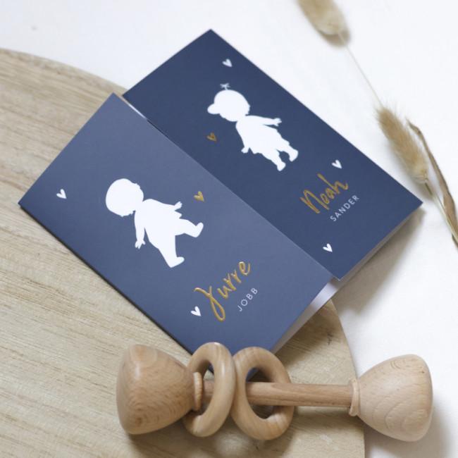 Geboortekaartje Twee jongens goudfolie