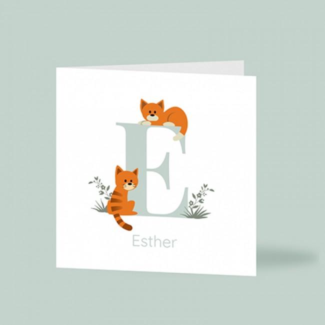 Geboortekaartje twee katten voor letter