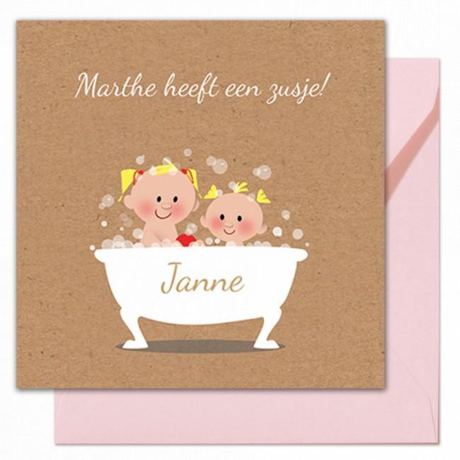 Geboortekaartje Twee zusjes in bad