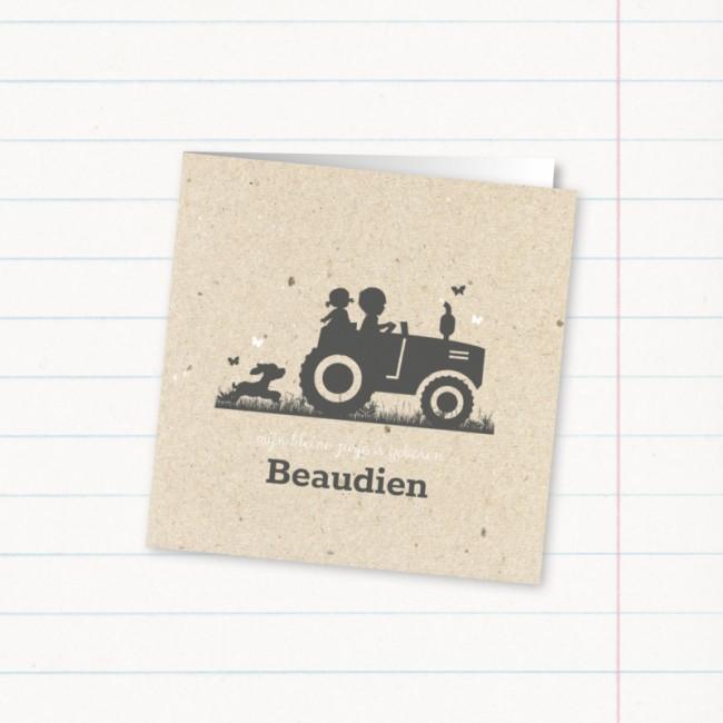Geboortekaartje Tweede kindje op tractor