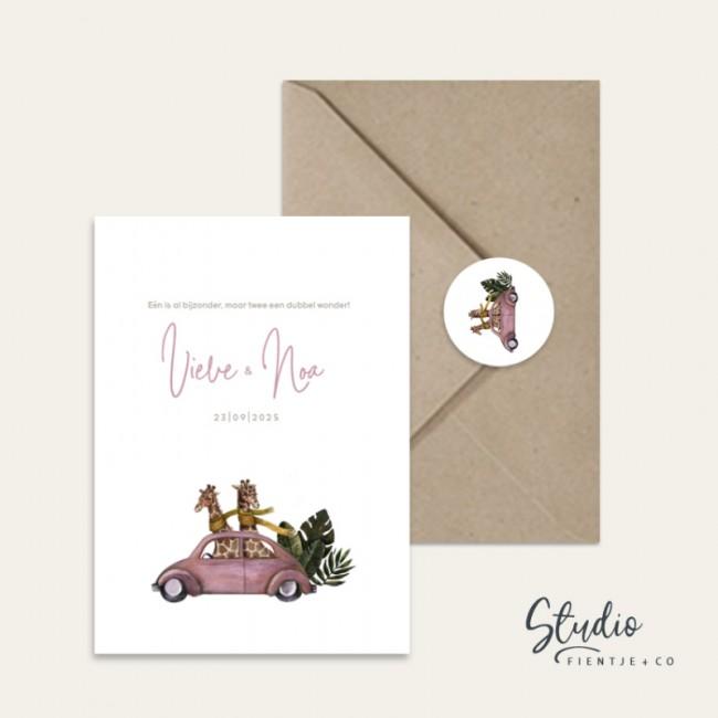 Geboortekaartje Tweeling giraffen roze