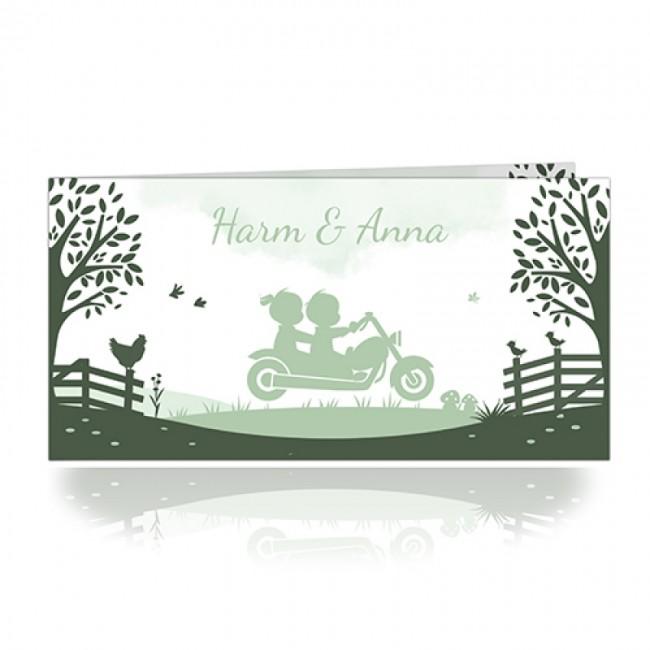 Geboortekaartje tweeling op motor