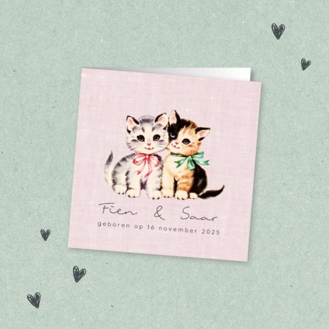 Geboortekaartje Tweeling retro katjes
