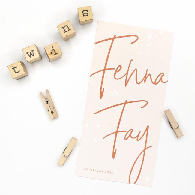 Geboortekaartje Tweeling roze typografie