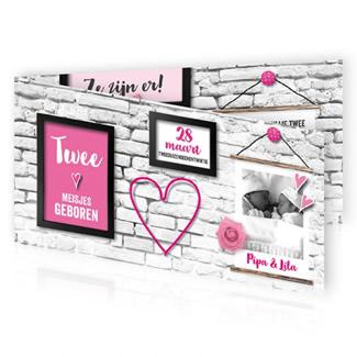 Geboortekaartje Tweeling muur met lijsten