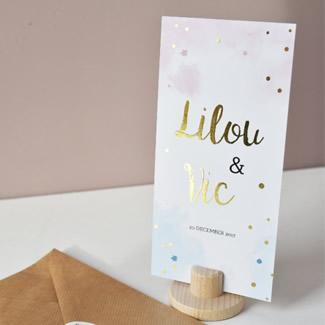 Geboortekaartje Tweelingkaart met goud