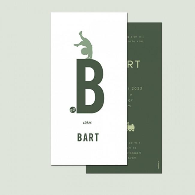 Geboortekaartje typografie handstand