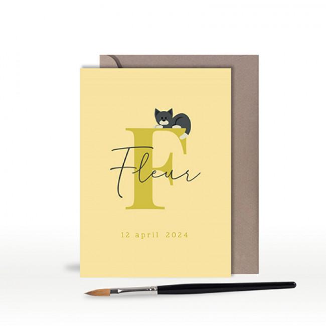 Geboortekaartje typografie met kat