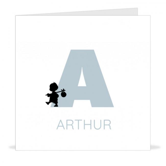 Geboortekaartje typografie silhouet