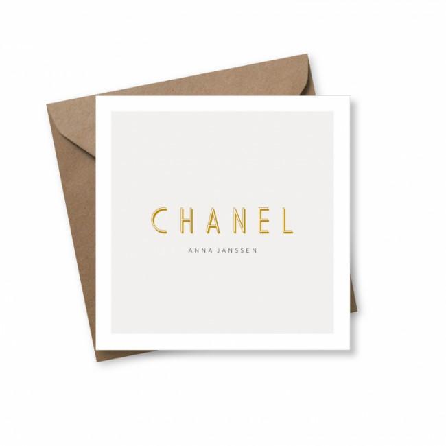 Geboortekaartje Typografisch Chanel