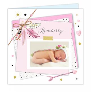 Geboortekaartje Veertjes geboortekaartje