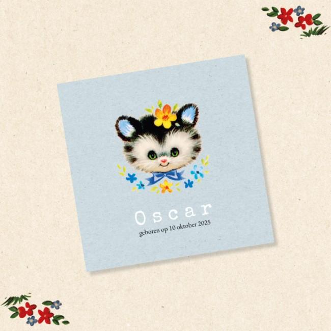 Geboortekaartje Vintage kat met bloemen