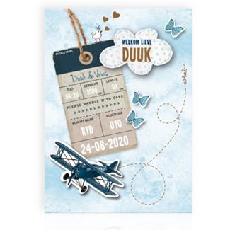 Geboortekaartje aquarel met vliegtuig