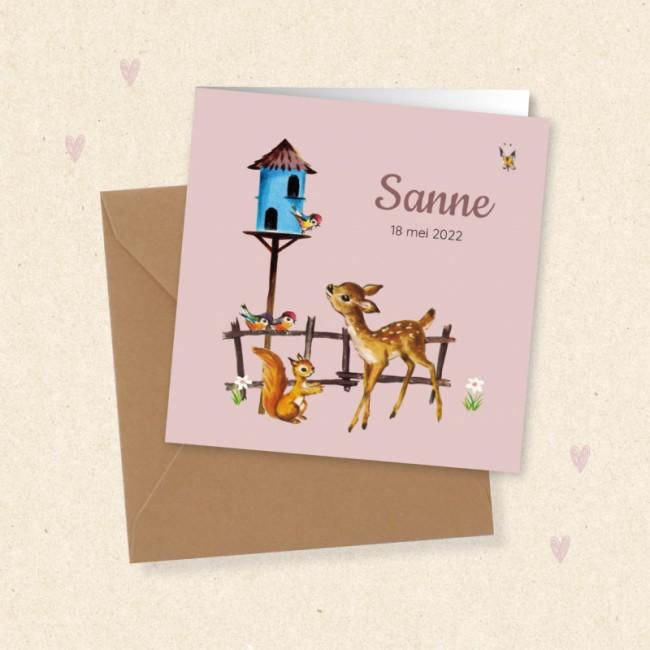 Geboortekaartje Vogelhuisje en hertje