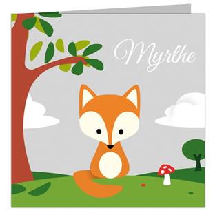 Geboortekaartje vos in herfst