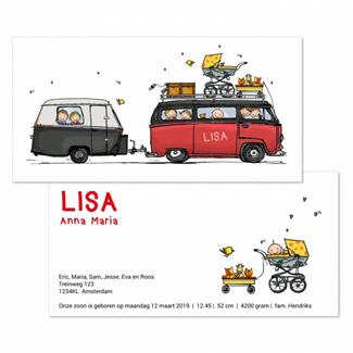 Geboortekaartje VW Bus met caravan meisje