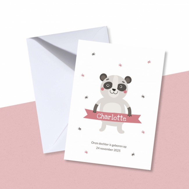 Geboortekaartje Wasbeertje en roze banner