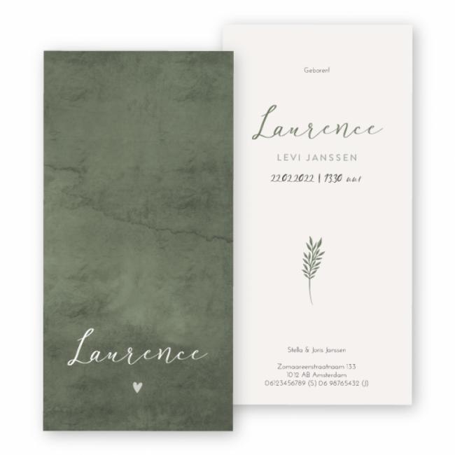 Geboortekaartje Waterverf Laurence