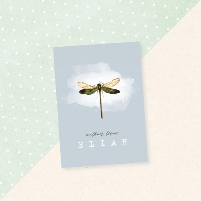 Geboortekaartje Waterverf met libelle