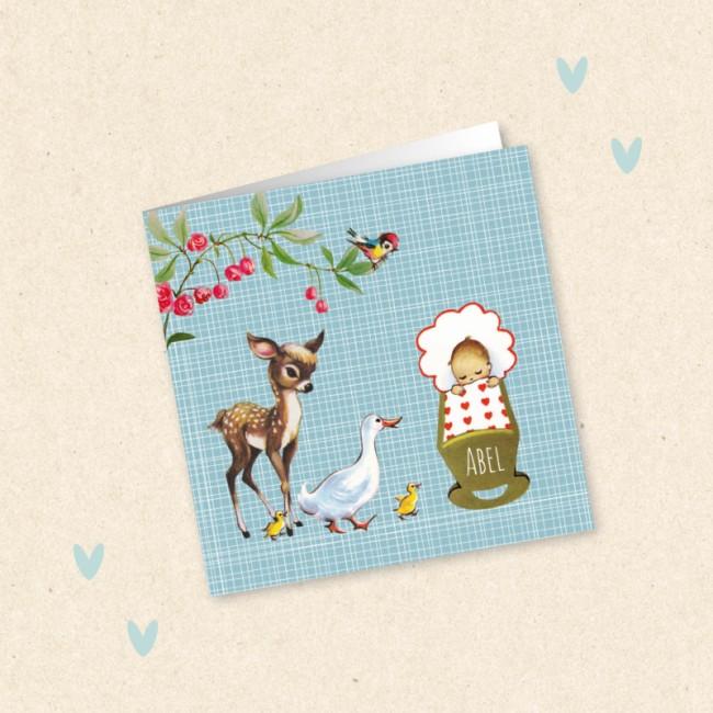 Geboortekaartje Wiegje en diertjes