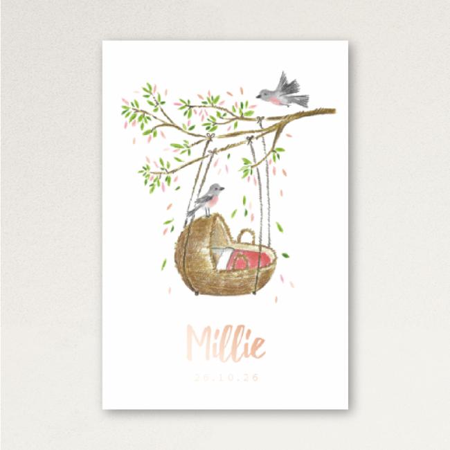 Geboortekaartje Wiegje en vogel Roséfolie