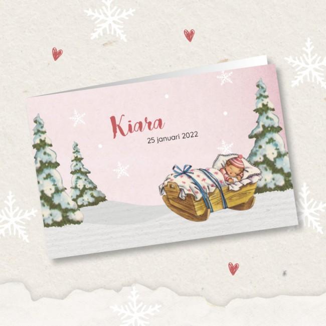 Geboortekaartje Wiegje in de sneeuw