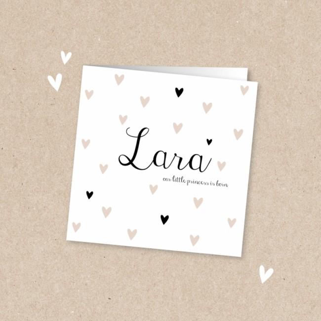Geboortekaartje Wit kaartje met hartjes